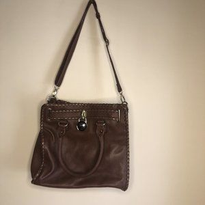 Womens Shoulder Handbag Leather Brown Tote Purse